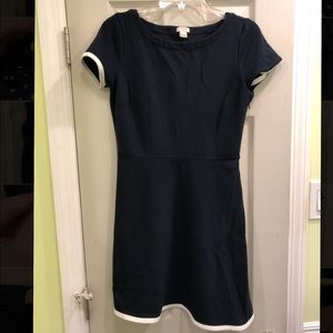 JCREW Short Sleeve Fit and Flare Dress - Navy